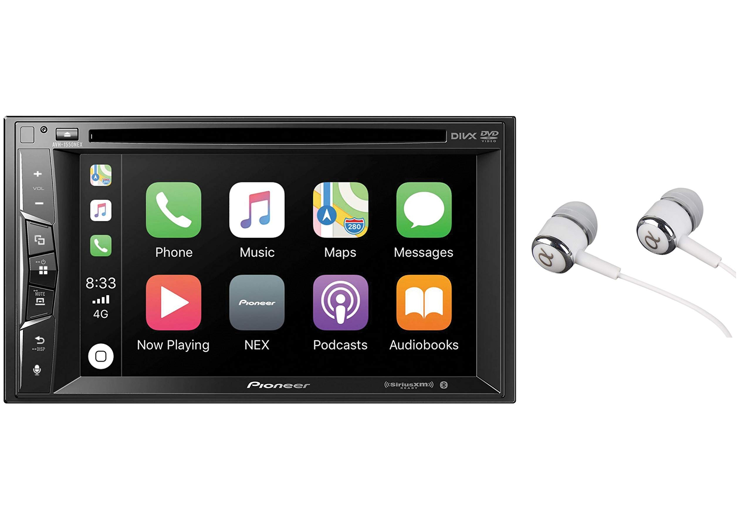 Pioneer Multimedia Double-Din In-Dash 6.2'' WVGA Display DVD Receiver Apple CarPlay/Built-in Bluetooth/SiriusXM-Ready/AppRadio Mode/ Spotify & Pandora WITH FREE ALPHASONIK EARBUDS by PIONEER