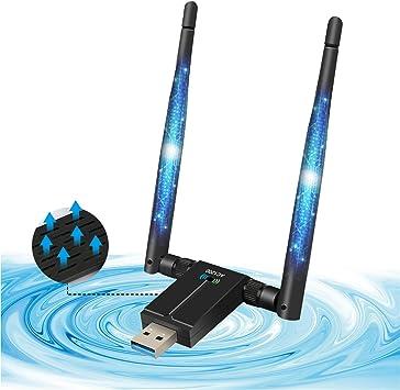 AQOTER Adaptador WiFi de 1200Mbps USB 3.0 de Doble Banda, 2.4GHz 5.8GHz Dongle WiFi con 2X 5dBiAntenas WiFi de Alta Ganancia para PC Portátil de ...