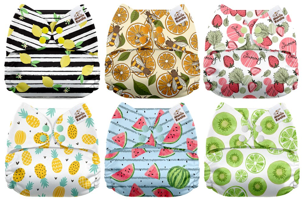Mama Koala One Size Baby Washable Reusable Pocket Cloth Diapers Wild Ones 6 Pack with 6 One Size Microfiber Inserts