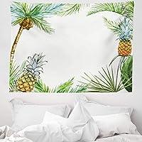 Orange Venue Ağaçlar Mikrofiber Geniş Duvar Halısı, Palmiye Ağacı ve Ananas, Yumuşak Kumaş Çok Amaçlı Salon Yatak Odası…