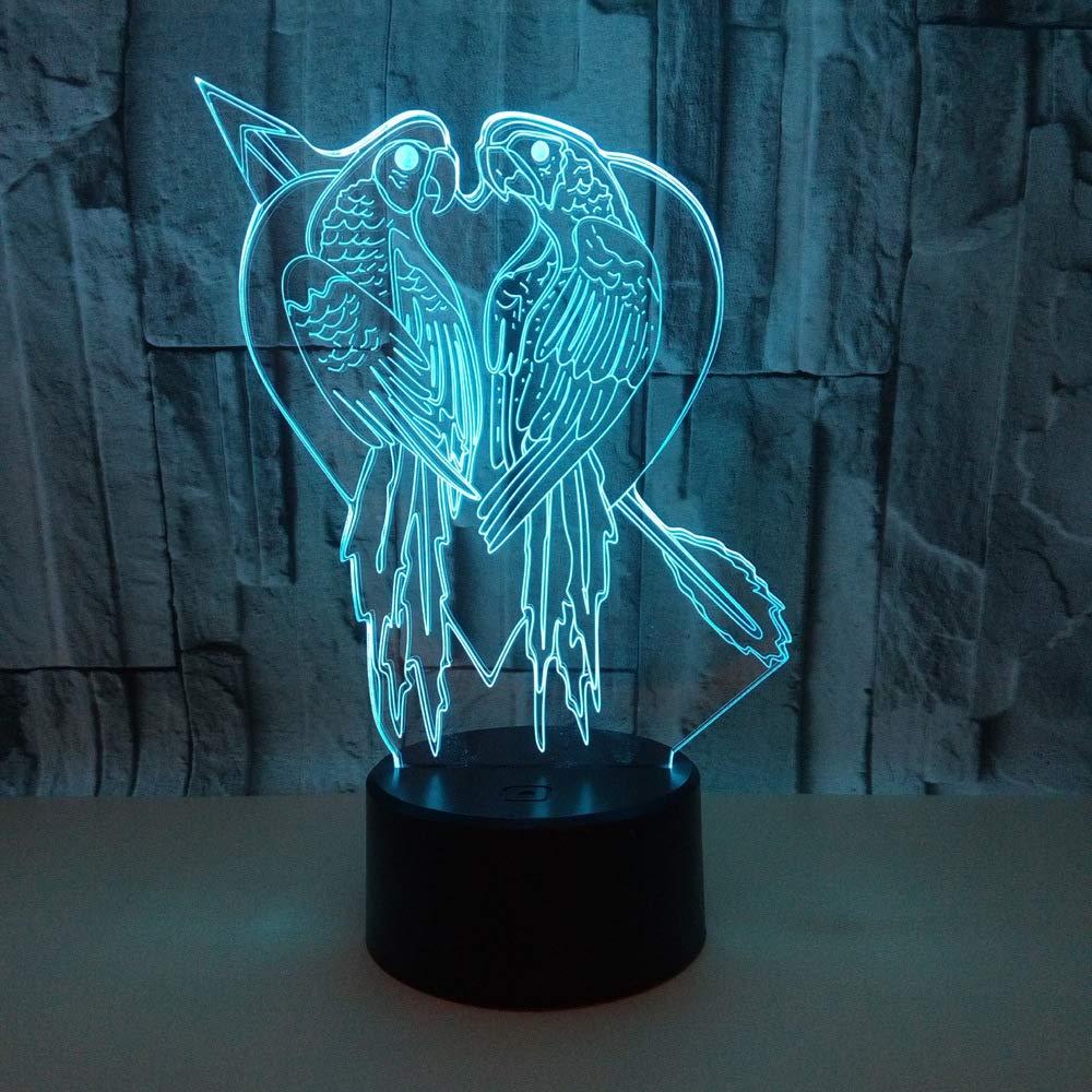 3D LED Lampe D'illusion Optique Veilleuse Perroquet Lumière De Nuit Avec Câble USB Et 7 Couleurs Décoration Pour Enfant Chambre Chevet Table De Bébé Enfant Cadeau De Noël Fête Anniversaire 3W YUN Night Light@