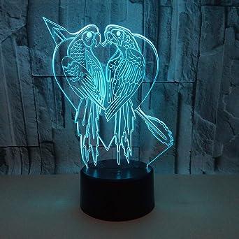 3D LED Lampe D illusion Optique Veilleuse Perroquet Lumière De Nuit Avec  Câble USB Et 92d9c2e4bdb6