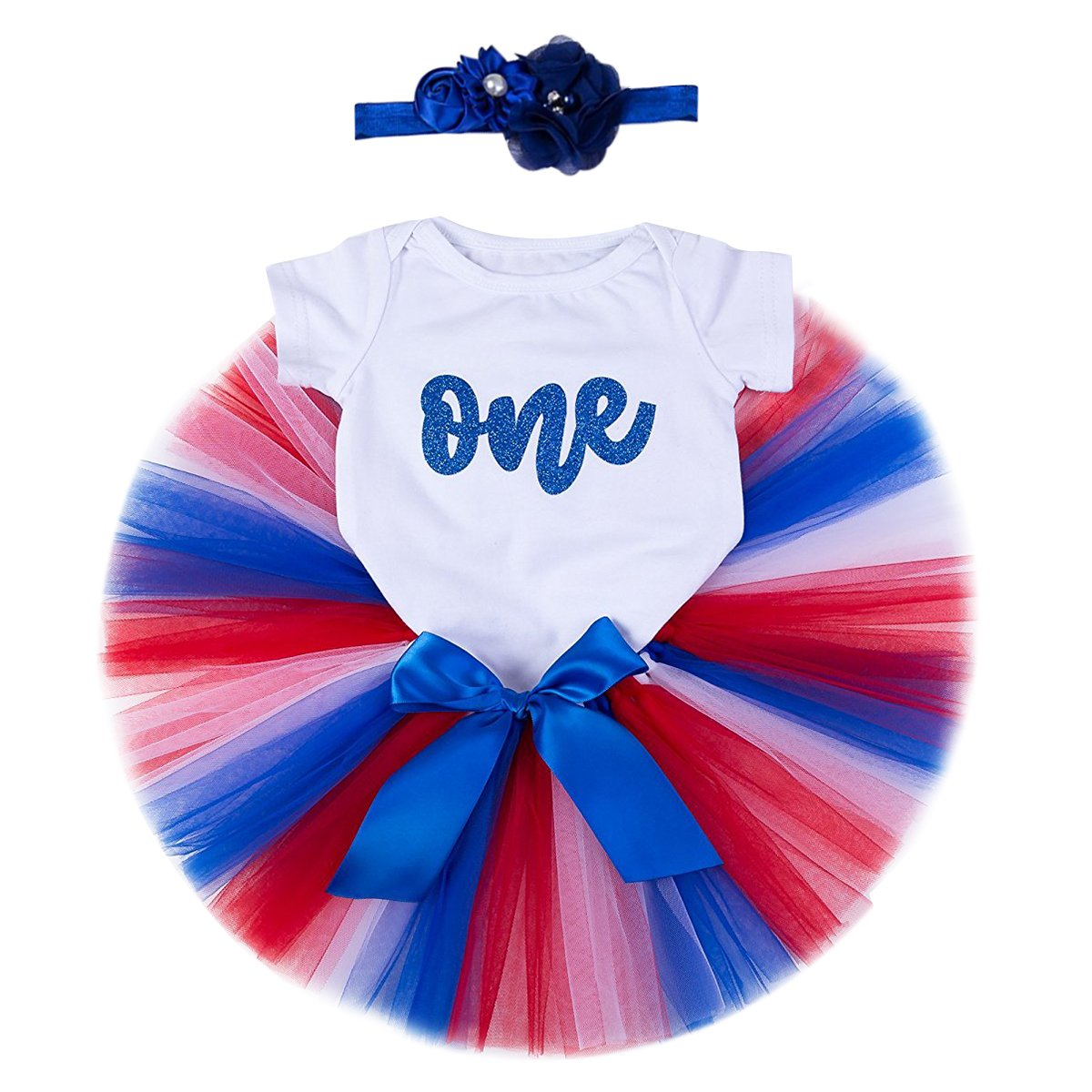 1st Birthday Party Baby Girl Romper Tutu Skirt Flower Headband Clothes Outfits