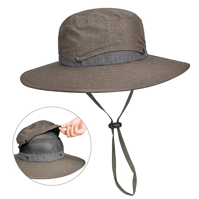 Sun Protection Safari Hat Wide Brim Fishing Hiking Boonie Cap for Men Women  Dark Grey 738991e3ecd