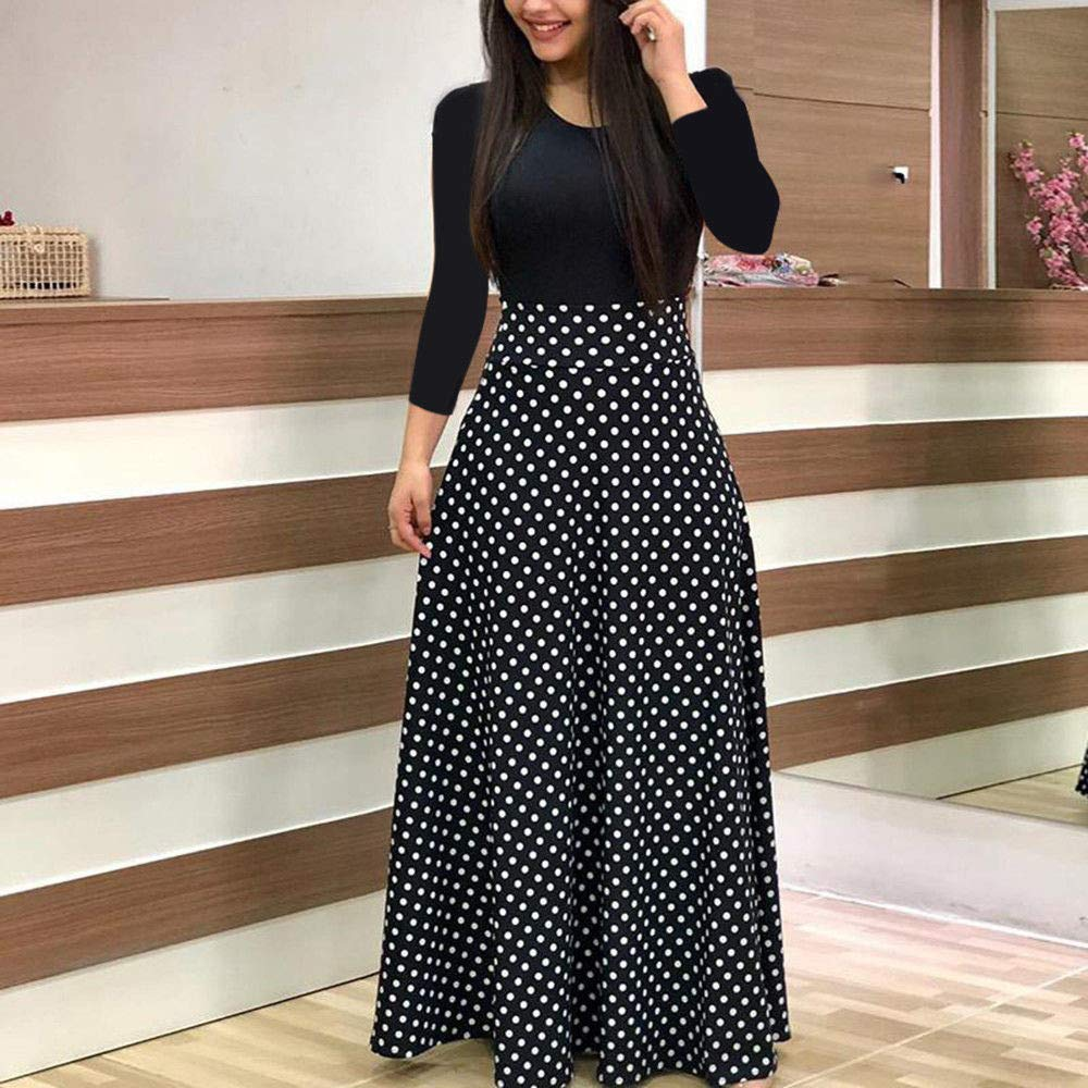 Goddessvan Womens Elegant Dot Bodycon Work Business Party Evening Dress