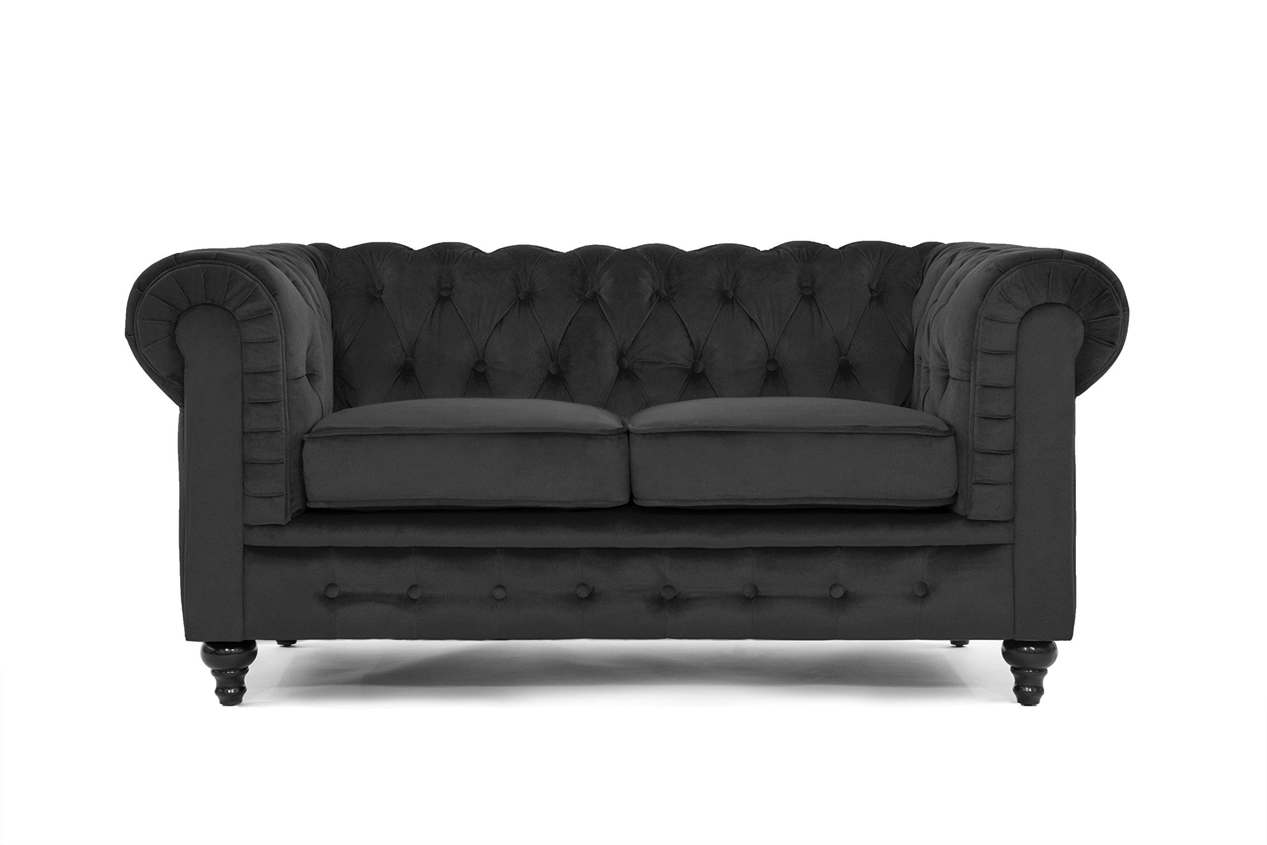 Classic Modern Scroll Arm Velvet large Love Seat Sofa in Colors Purple, Red, Black, Grey (Black)