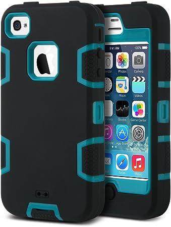 ULAK Cover per iPhone 4S, iPhone 4 Custodia Ibrida a Protezione Integrale con Parte Esterna in 3 Strati di Morbido Silicone e Interno Rigido per ...