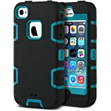 ULAK - Cover per iPhone 4S Case - iPhone 4 Custodia ibrida a protezione integrale per Apple iPhone 4 con parte esterna in 3 strati di morbido silicone e interno rigido per iPhone 4/4S - (blu + nero)