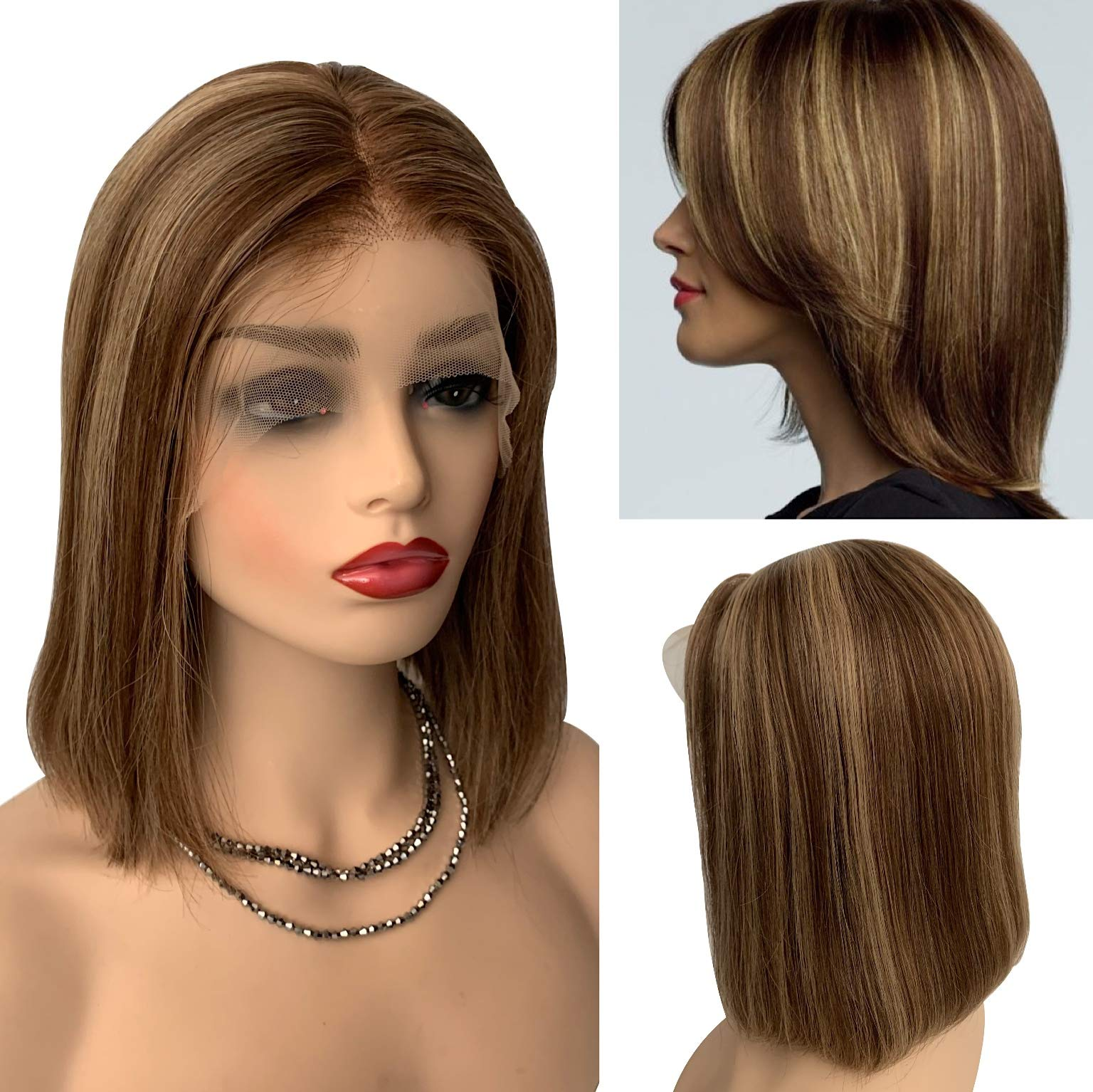 Ombre Wigs Brazilians Human Hair Lace Front Wig 13x4 Pre Plucked Glueless Straight Bob Density 150% Medium Brown Roots Balayage Strawberry Blonde Bleached Knot #4T4/27 12inch by Arbbyibee