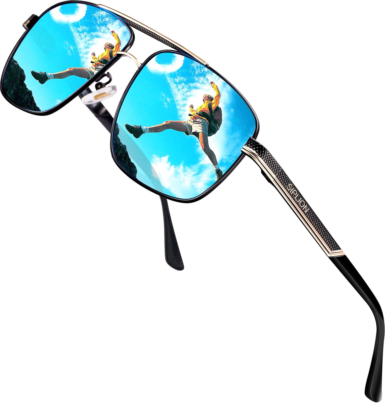 SIPLION Men's Driving Polarized Rectangular Square Sunglasses Metal Frame 1823 Blue by SIPLION