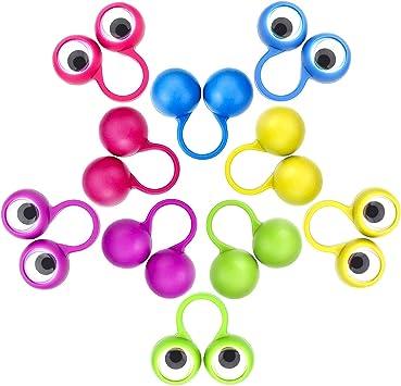 Rmeet Ojos para Dedos,30 Pack Marionetas de Dedos 5 Colores Ojo Dedo Títeres para Niños Bolsas de Regalos Favores de Fiesta Halloween: Amazon.es: Juguetes y juegos