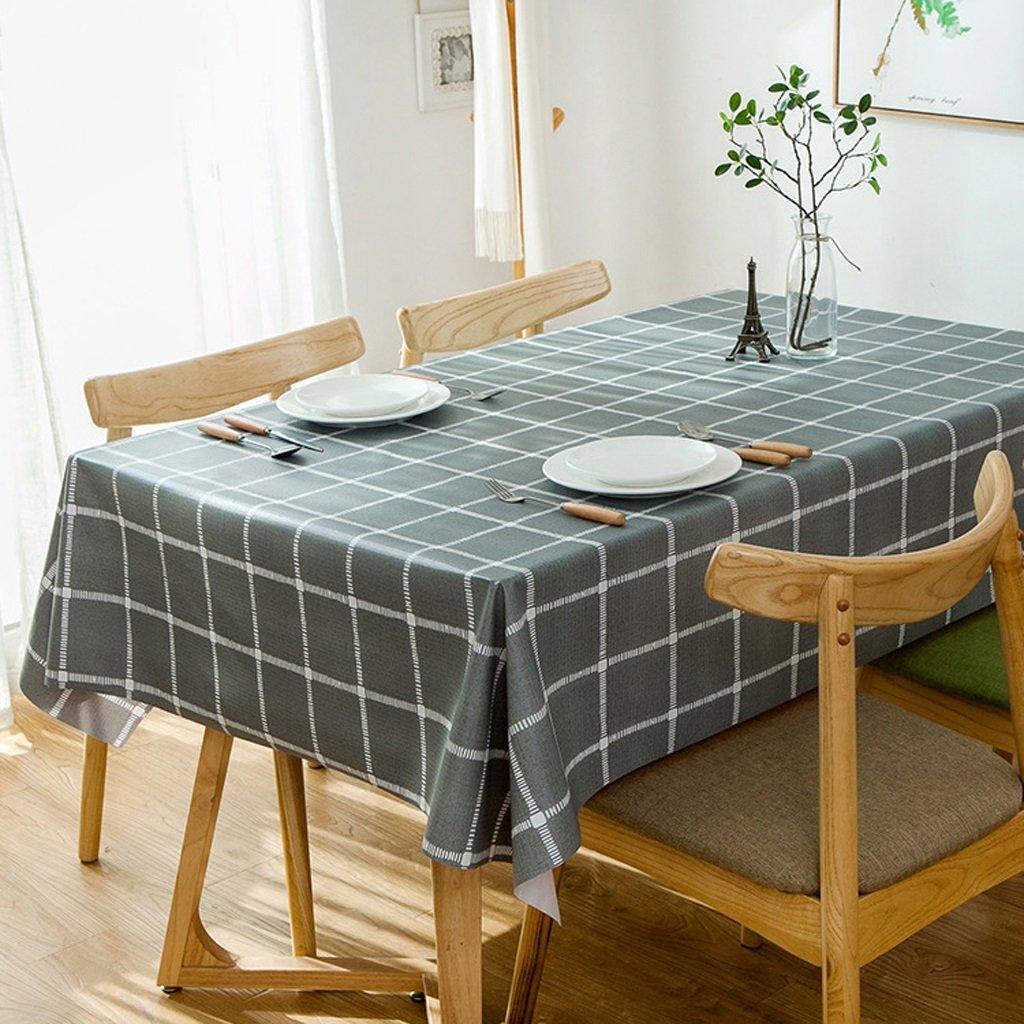 Mbd 格子柄テーブルクロス 6人掛けサイズ ワイプクリーン 防水 汚れにくい 長方形テーブルカバー ワイプクリーン (200137cm) 36969  C B07MS9SVNY