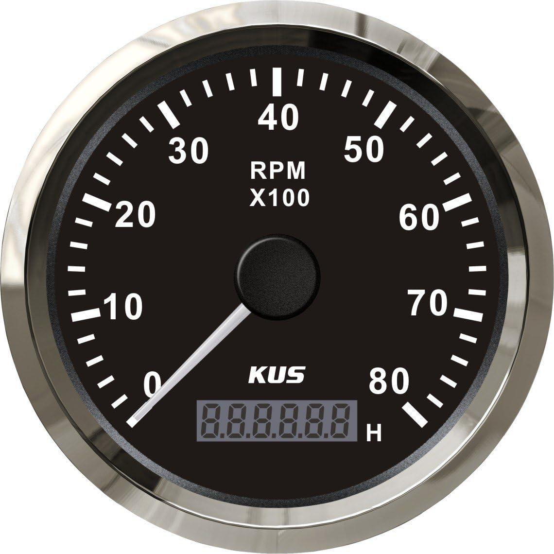 Kus Universal Drehzahlmesser Drehzahlmesser Mit Betriebsstundenzähler 8000 Rpm Für Benzinmotor 85mm 12 V 24 V Mit Hintergrundbeleuchtung Schwarz Auto