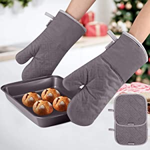 KeShi Kitchen Oven Mitts Set, Oven Mitts and Pot Holders, Heat Resistant with Quilted Cotton Lining, Non-Slip Surface 4 Pieces for Cooking, Baking, Grilling, Barbecue (Gray)