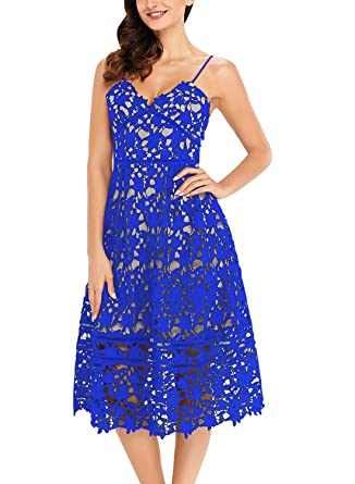 TOUVIE Damen Elegant Abendkleid Cocktailkleid V-Ausschnitt ärmelloses  Spitzenkleid Midi Festlich Kleider  Amazon.de  Bekleidung 94fe8ad078