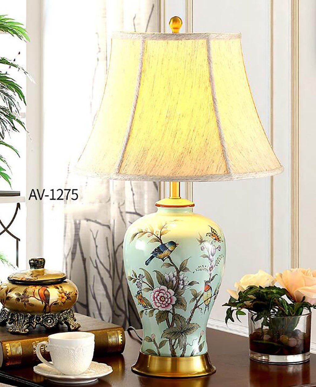 KTYX 手描きの花と鳥の青オール銅の陶磁器のランプ 電気スタンド (サイズ さいず : L l) L l  B07CZGHVFT