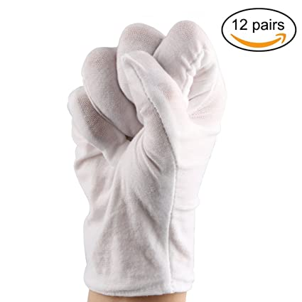 Selizo 8 Pairs White Cotton Gloves For Cosmetic Moisturizing Dry