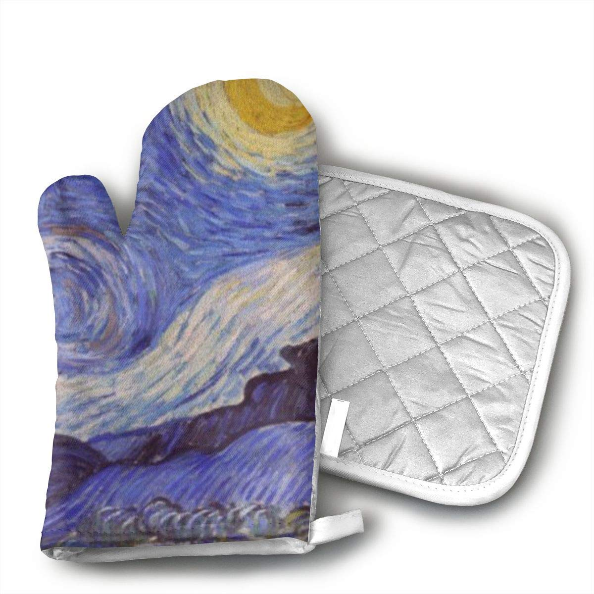 GUYDHL Unisex Oven Mitt and Pot Holder for Vincent Van Gogh Starry Night - 2 Pair