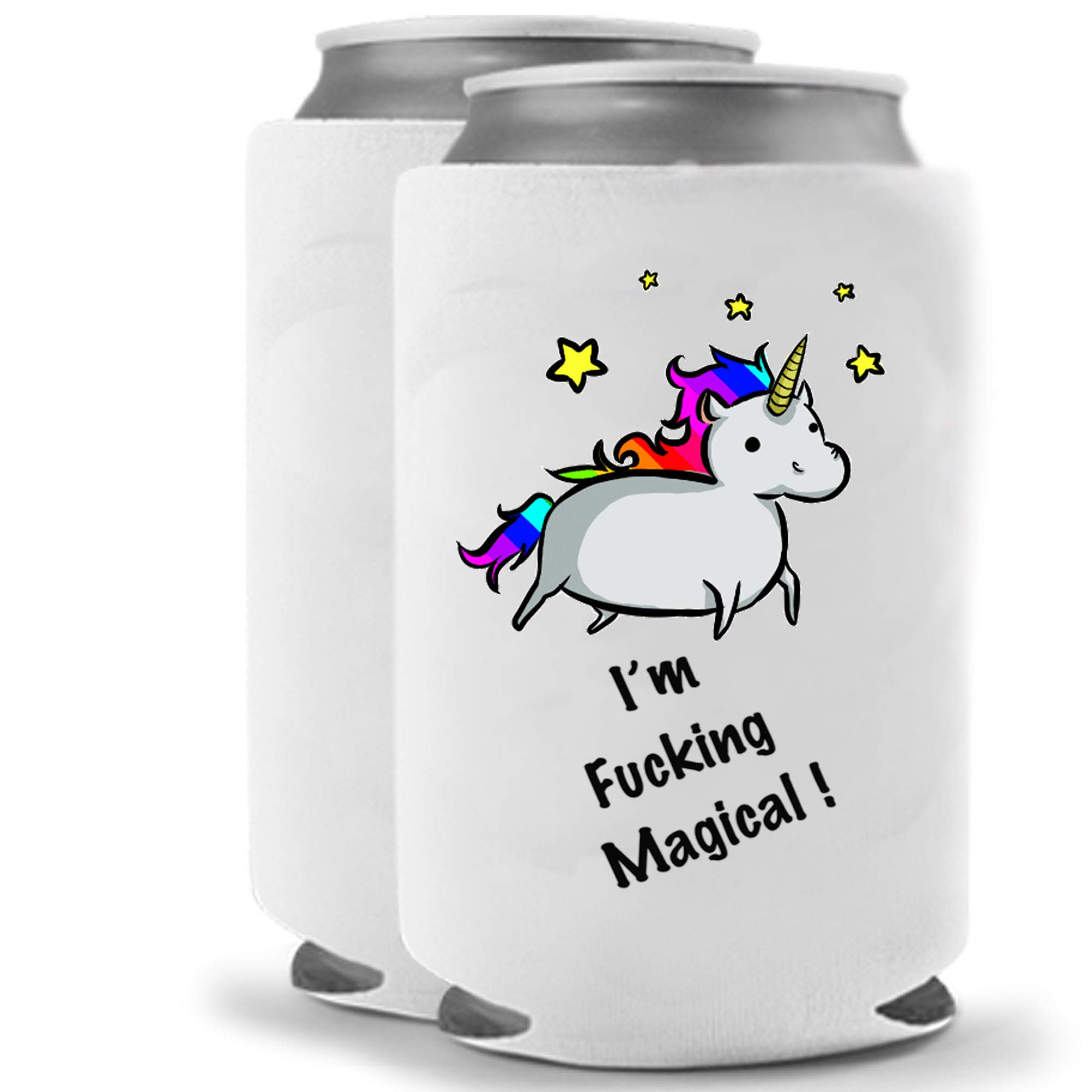 Unicorn - I am Fucking Magical   Funny Novelty Can Cooler Coolie Huggie - Set of two (2)   Beer Beverage Holder - Beer Gifts Home - Quality Neoprene No Fade Can Cooler