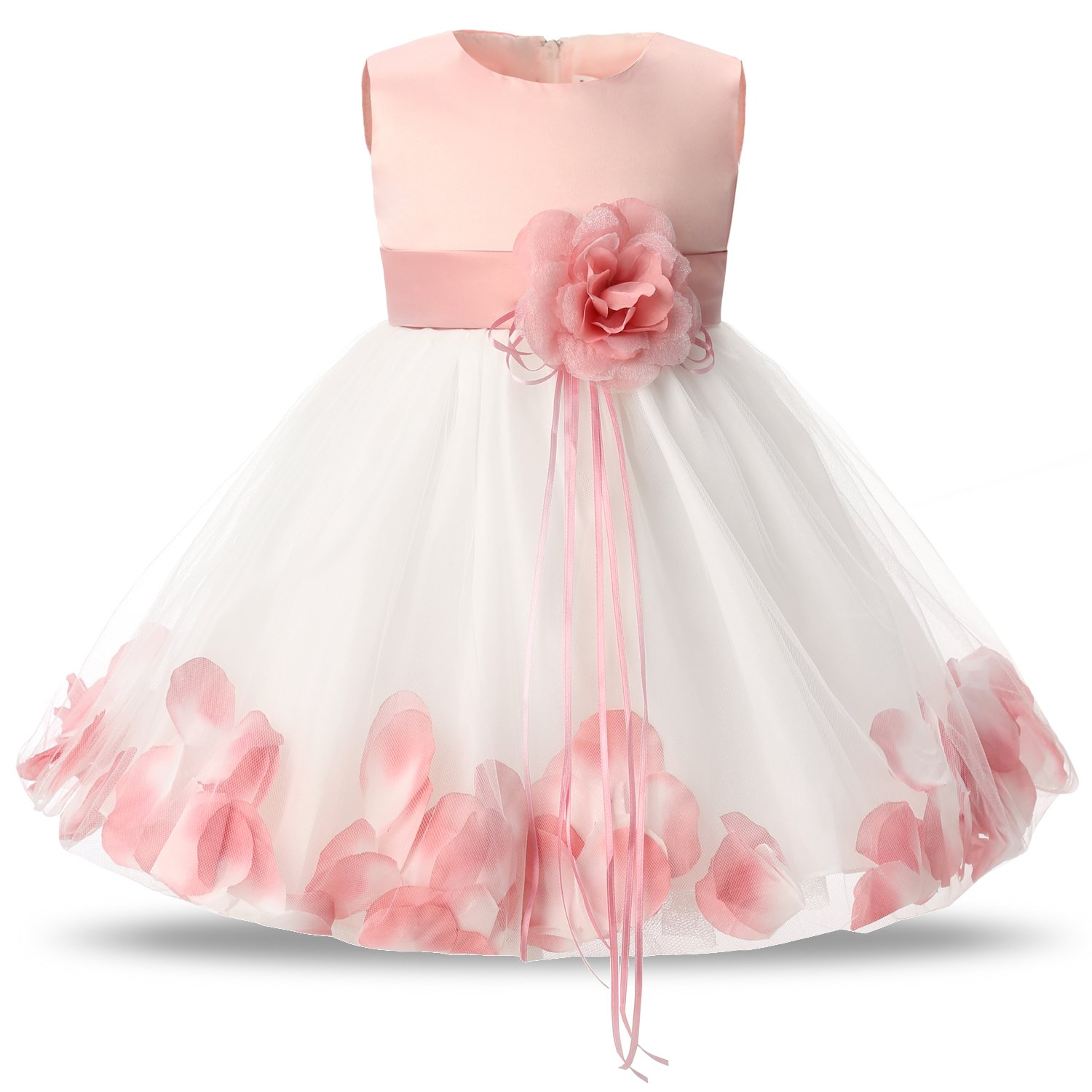 160139f473e Galleon - NNJXD Girl Tutu Flower Petals Bow Bridal Dress For Toddler Girl  Size(S) 4-9 Months Pink