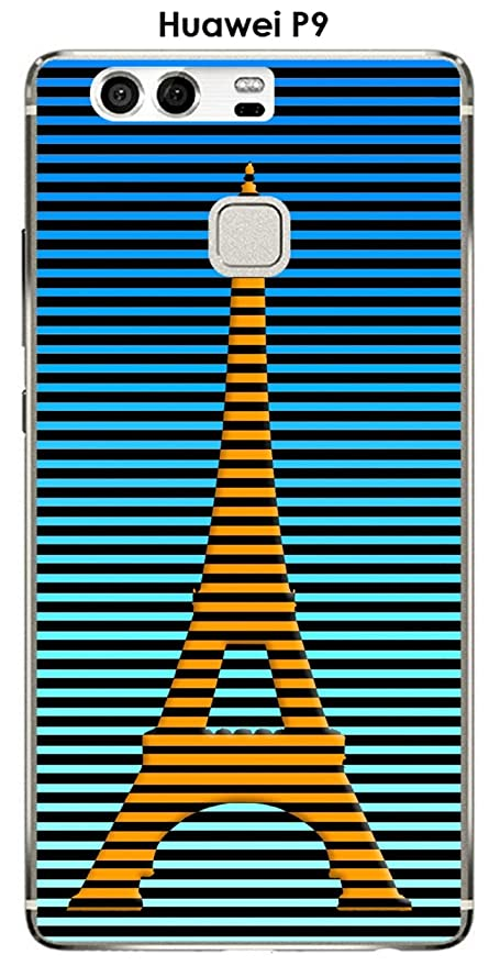 Onozo Cover Huawei P9 Design Paris Torre Giallo Rayee Sfondo Blu
