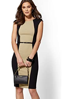 43c5593cf53 New York   Co. Women s 7Th Avenue - Colorblock Belted Sheath Dress - Magic  Crepe