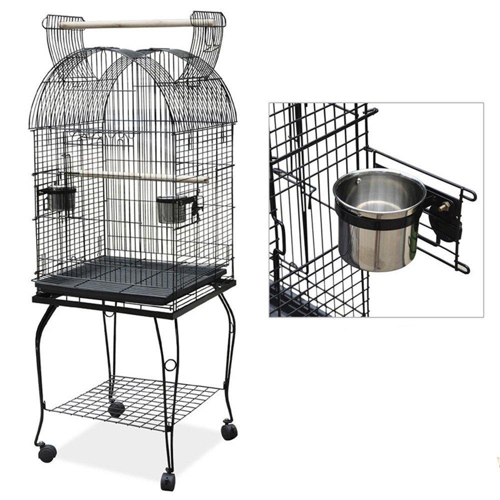 Vogelvoliere Wellensittich, CRAVOG Kuppel Rollbar Metall Vogelkäfig mit Abnehmbare Schublade für Papagei und Vogel, Schwarz 52 x 52 x 150 cm (L x B x H)