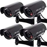 Fake Security Camera, Dummy CCTV Surveillance System with Realistic Red Flashing Lights and Warning Sticker (4, Black)