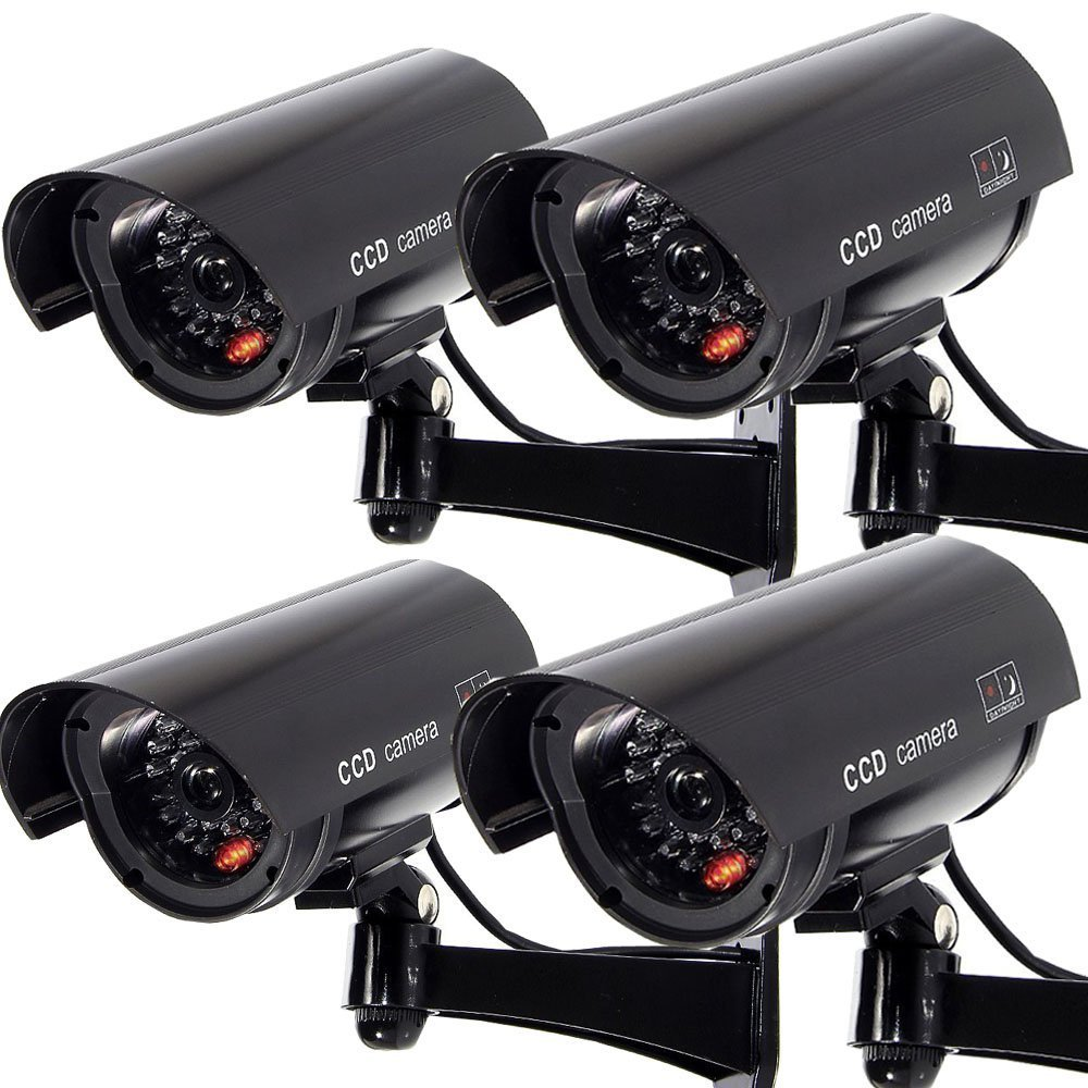 Outdoor Fake Security Camera, Dummy CCTV Surveillance System with Realistic Red Flashing Lights and Warning Sticker (4, Black) by F FINDERS&CO