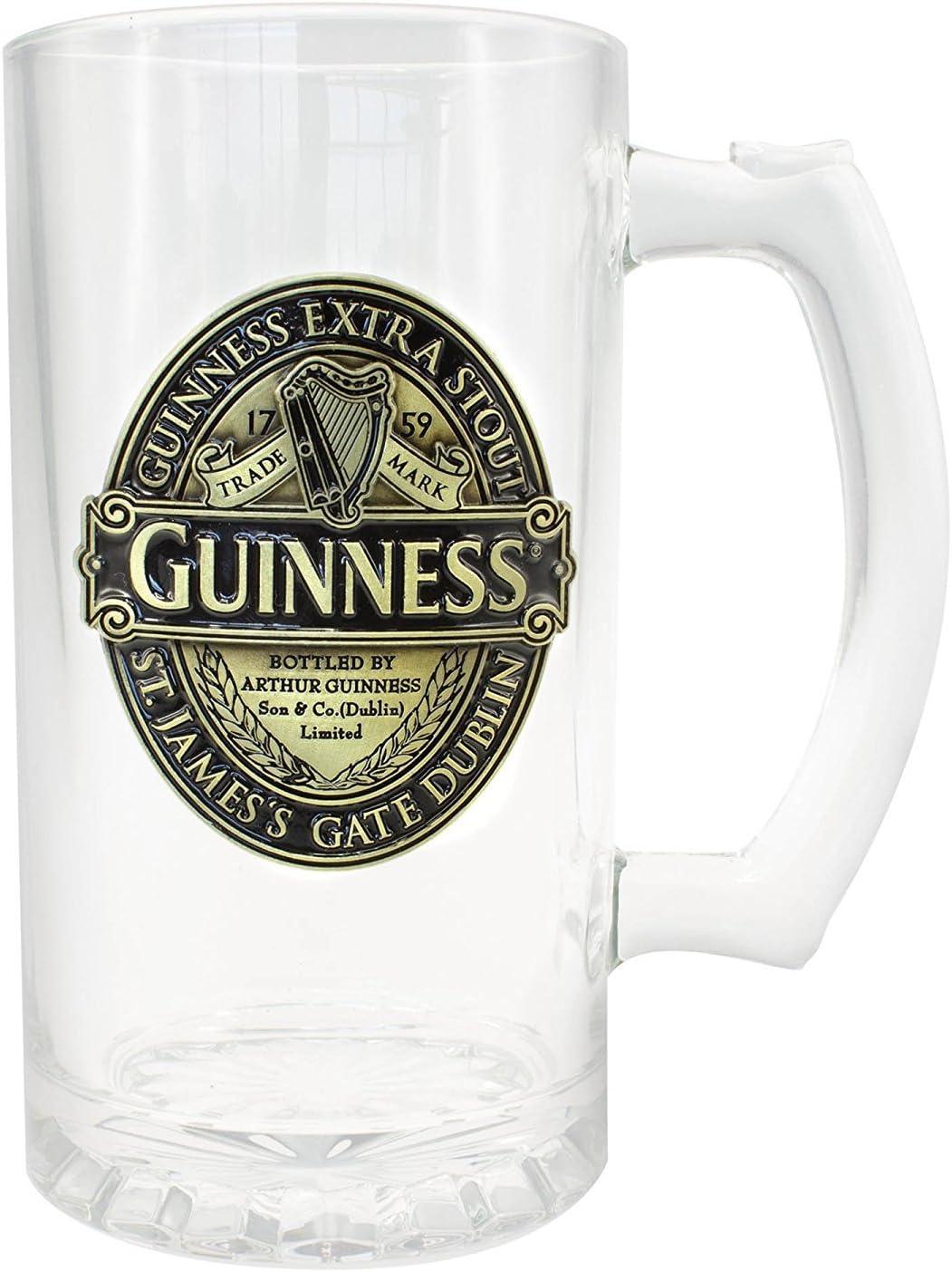 Guinness - Jarra con diseño de Etiqueta Dorada, Color Negro y Dorado