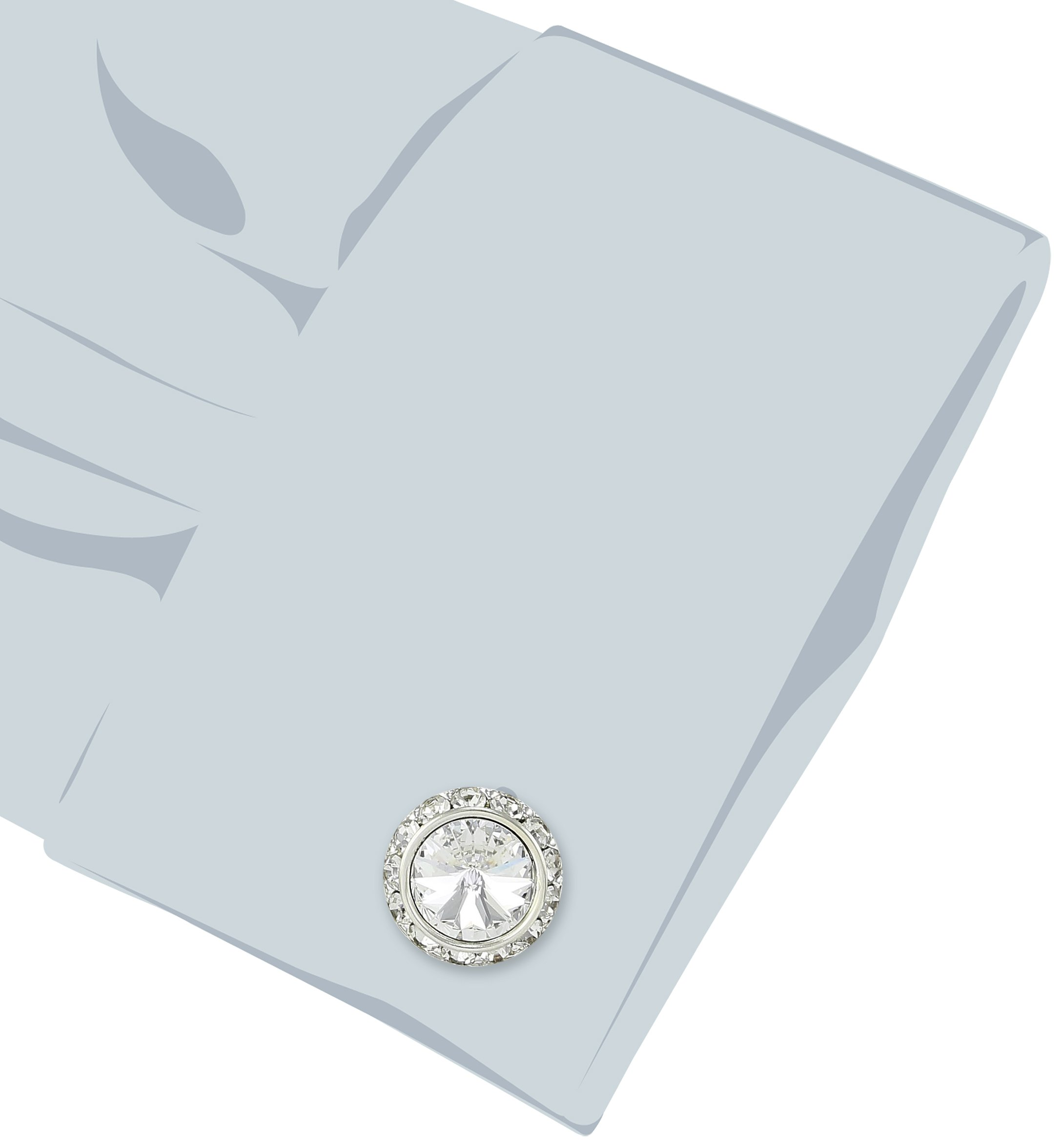 Stacy Adams Men's Silver Clear Rondell Cuff Link, Crystal, One Size by Stacy Adams (Image #2)