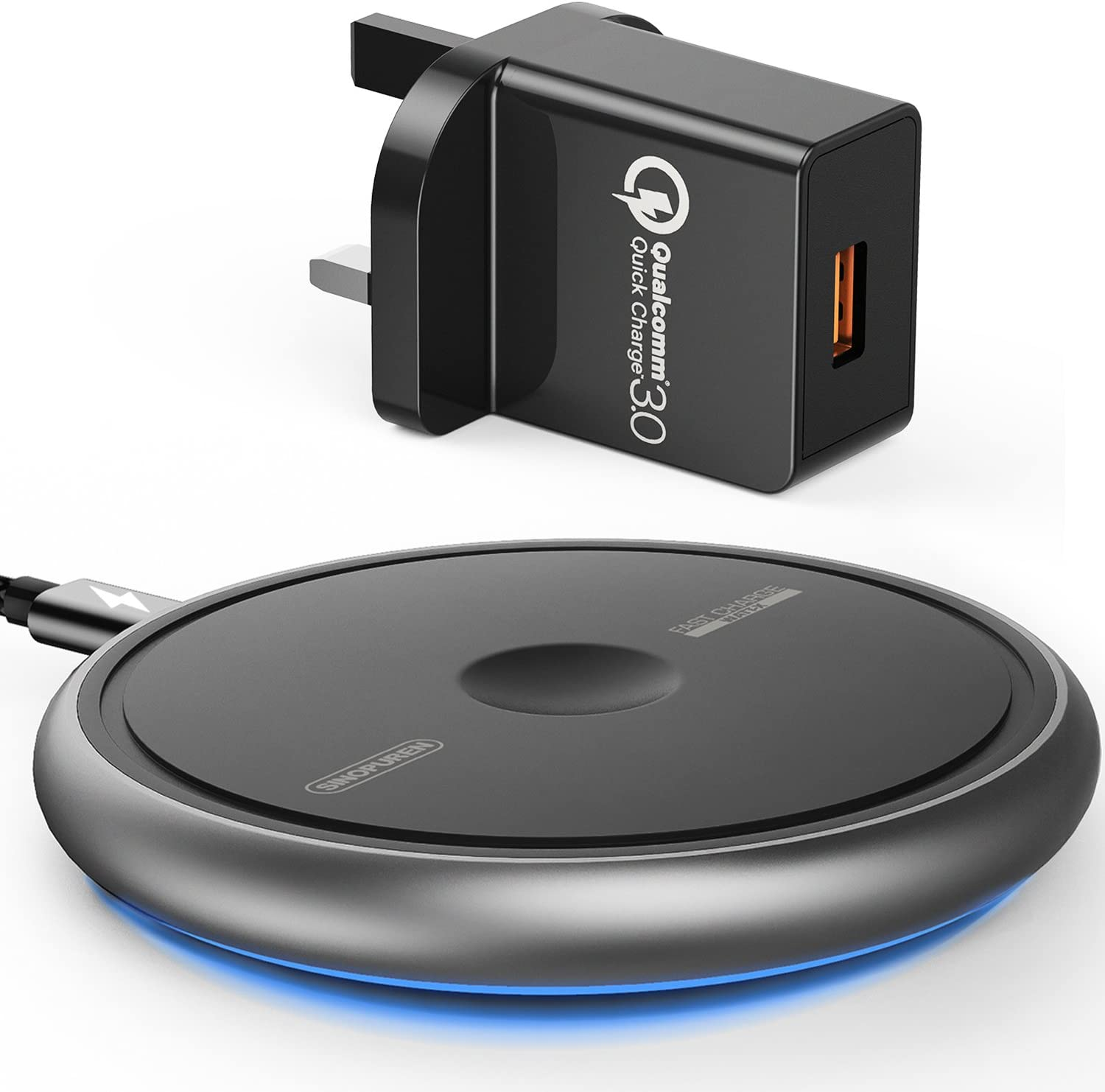 Wireless Charger with QC3.0 Adapter UK Plug, SINOPUREN