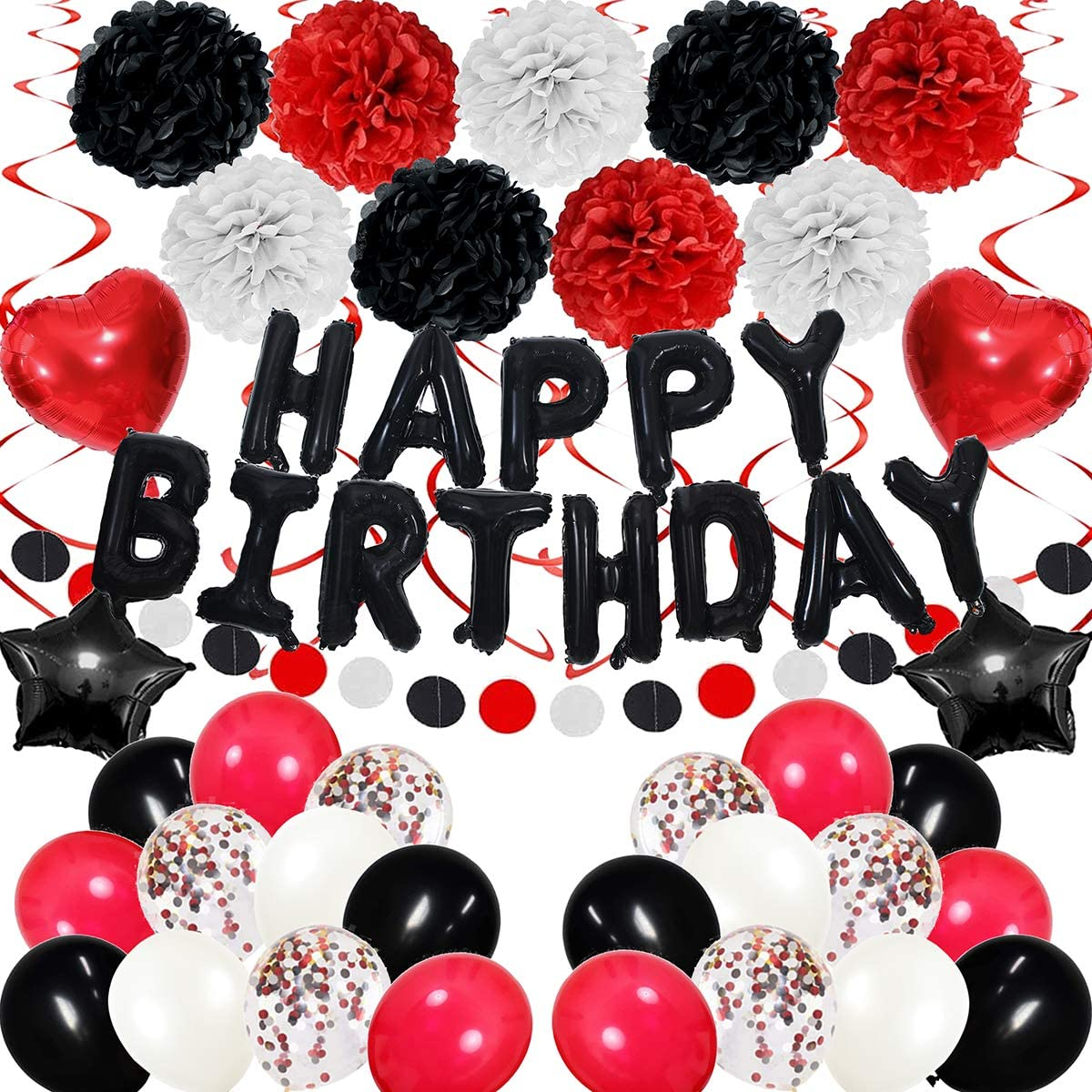 Black White and Red Birthday Decorations 47 Pieces balloon kit with foil Balloons Suit for 1st 16th 18th 21th 30th 35th 40th 50th 60th 70th, Men Women Boys Grils Black White Red Birthday Party,Casino Poker Card party ,Casino Las Vegas Themed Party