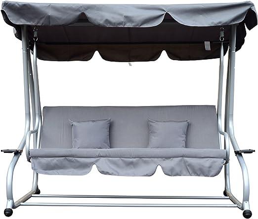 Balancín de jardín de 3 plazas convertible en cama con cojines, 200 x 120 x 164 cm: Amazon.es: Jardín