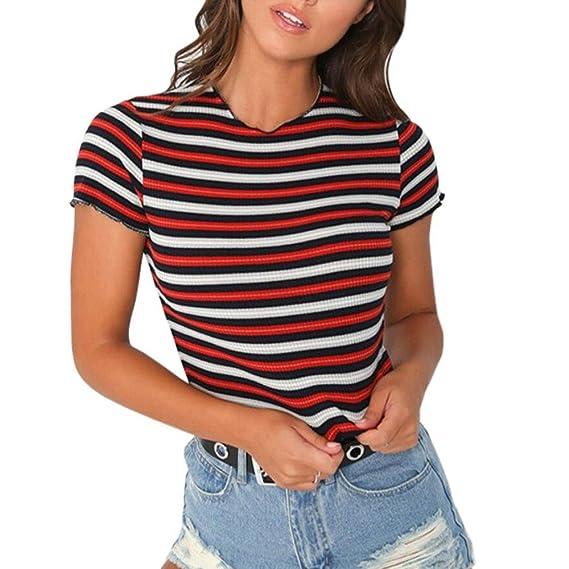 Logobeing Moda para Mujer Casual O-Cuello Manga Corta Blusa a Rayas Camiseta Patchwork Tops