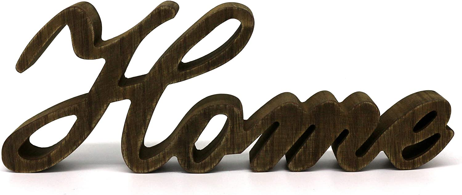 CVHOMEDECO. Rustic Vintage Distressed Wooden Words Sign Free Standing Home Tabletop/Shelf/Home Wall/Office Decoration Art, 11-3/4 x 4-1/4 x 1 Inch