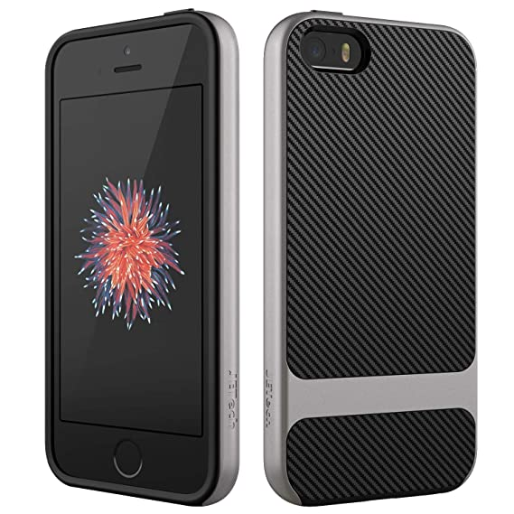 pretty nice 96268 f4e56 JETech Case for Apple iPhone SE 5s 5, Slim Protective Cover with  Shock-Absorption, Carbon Fiber Design, Grey