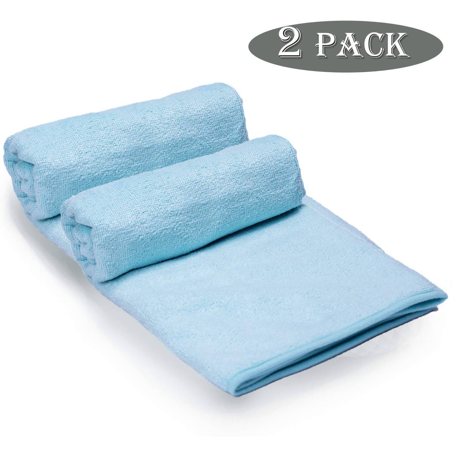 UNIC Soft Microfiber Bath Towel Sets(2 Pack,27×55 Inches), Lightweight Absorbent Quick Drying Antibacterial Multipurpose Pool Gym Beach Home Bathroom Towels(Light Blue)