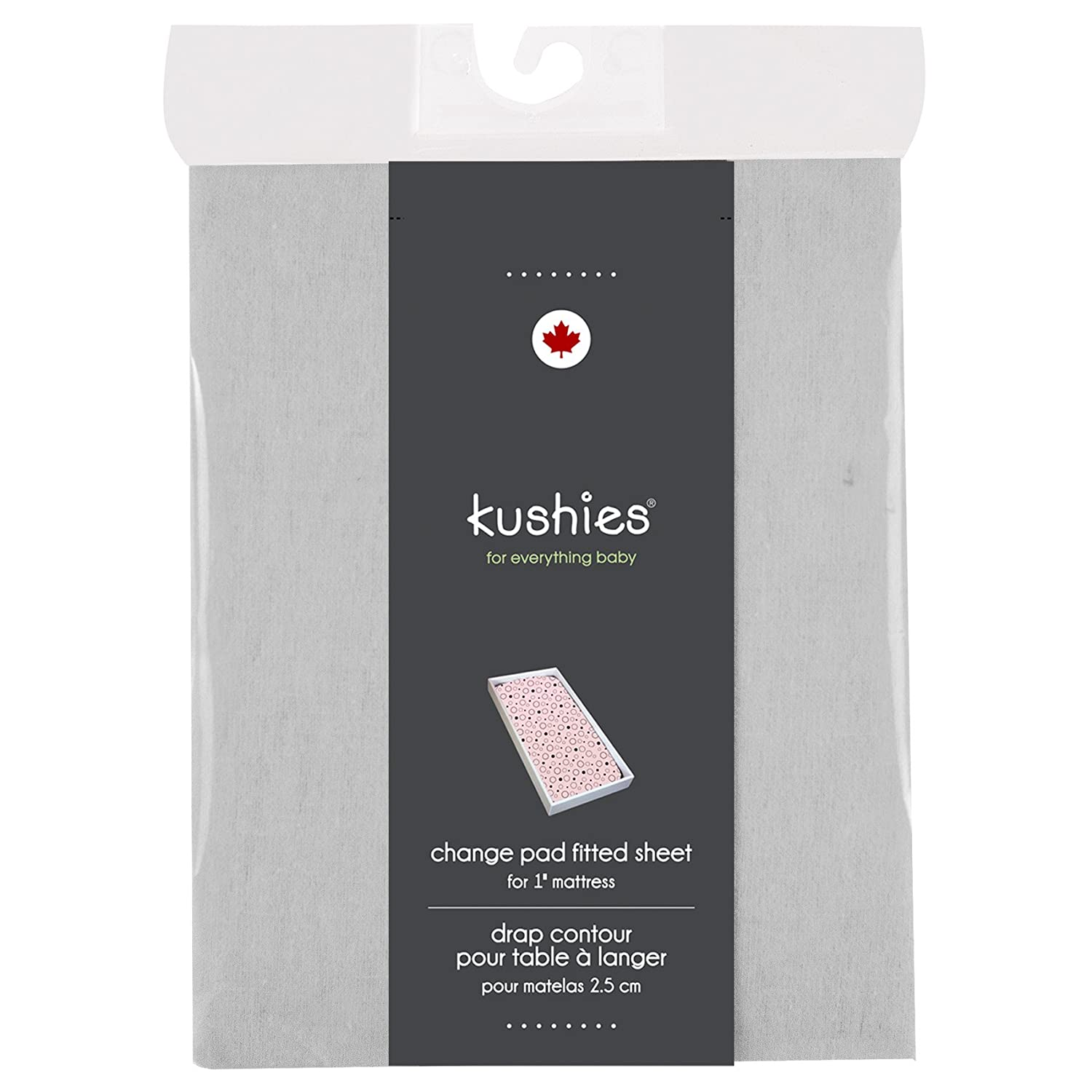 Kushies Changing Pad Cover for 1 pad, 100% breathable cotton, Made in Canada, Grey Kushies Baby S340-GRY
