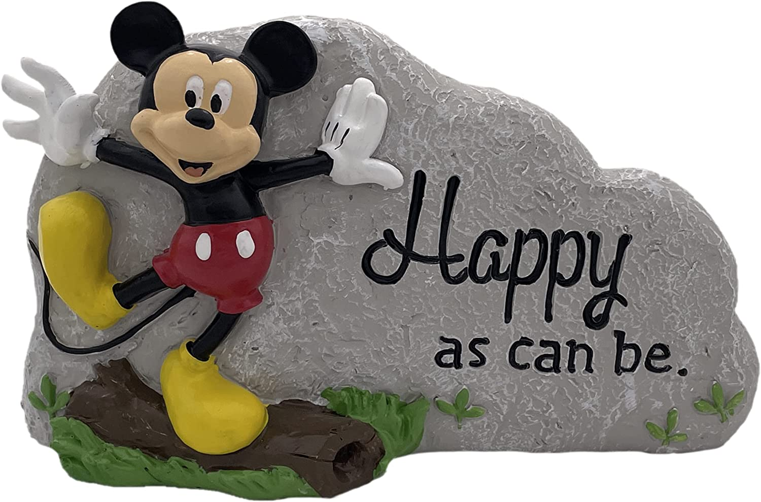 The Galway Company Mickey Mouse Happy as can be Garden Rock. This Licensed Disney Statue is a Generous 5 inches Tall and 8 inches Wide, Made of Durable cast Stone Resin, and Hand Painted.