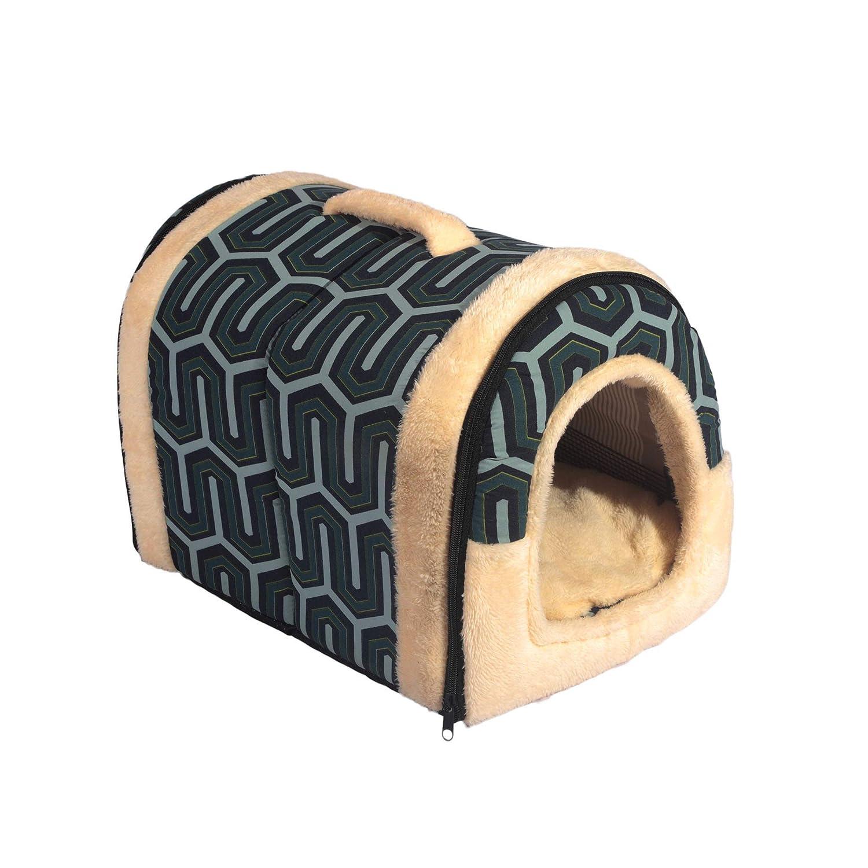 3 Sizes ANPI 2 in 1 Dog House Cat Igloo Foldable Machine Washable Cat Bed Cave Non-Slip Soft Warm Pet Rabbit House Sofa with Detachable Cushion Multicolour