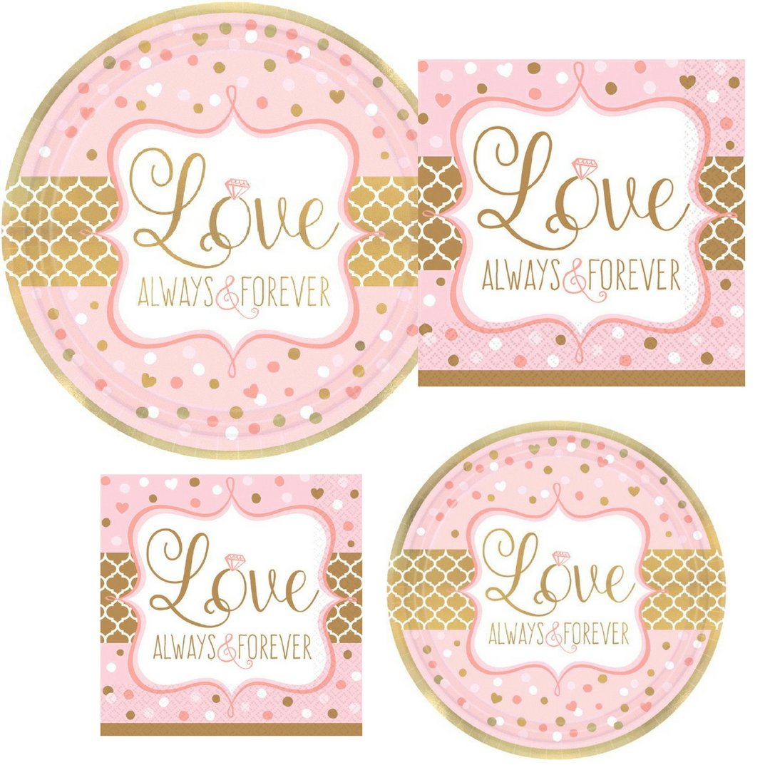 Love Always & Forever Bridal Shower Wedding Party Supply Pack! Bundle Includes Paper Plates & Napkins for 8 Guests