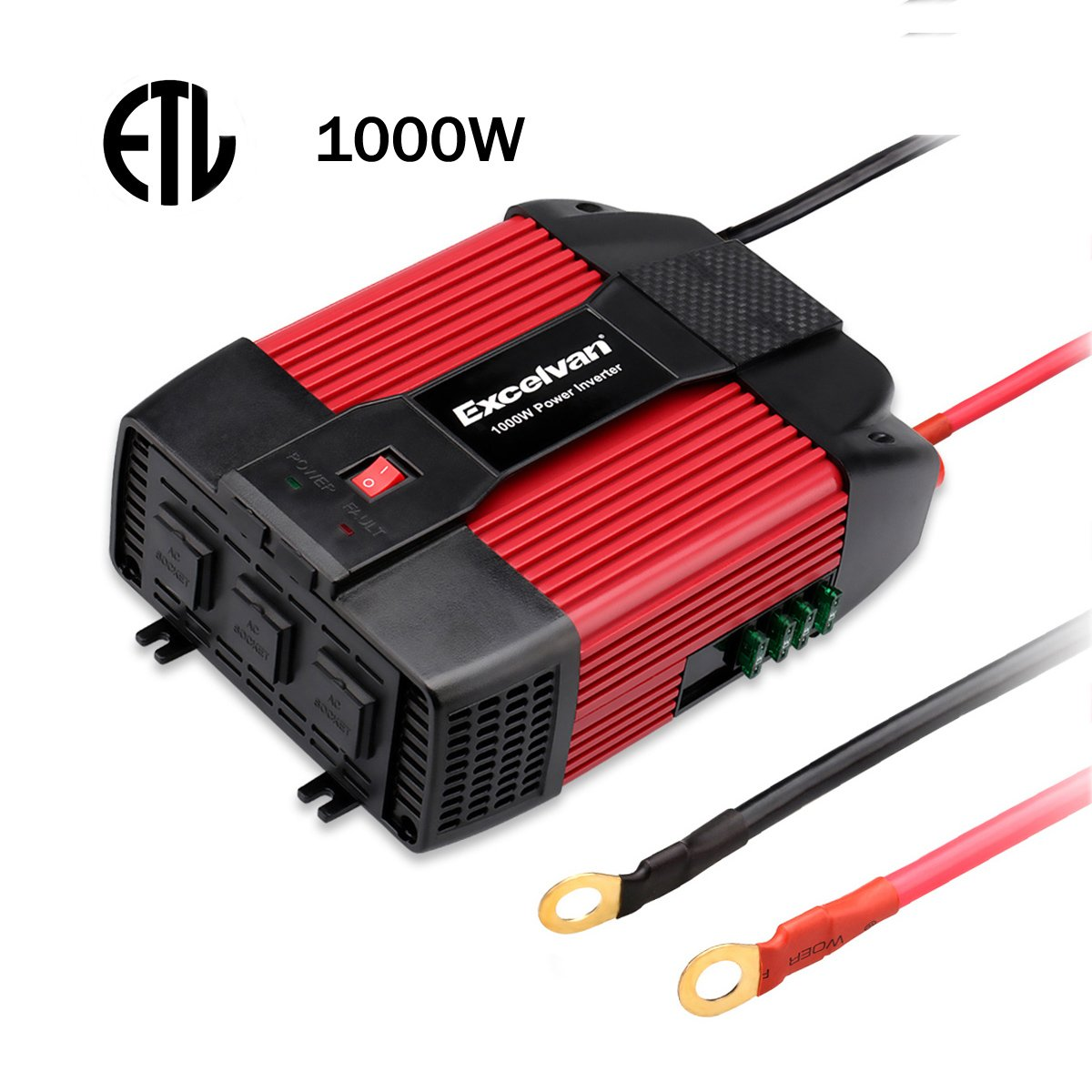 Excelvan 1000W Car Power Inverter 12V DC to 110V AC with Dual USB Port and 3 AC Outlet