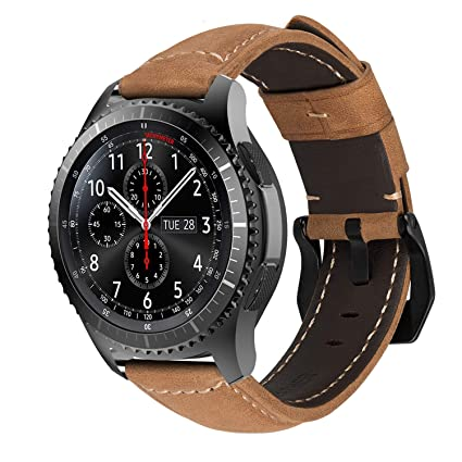 MroTech Correa Piel de Reloj 22mm para Gear S3 Frontier/Classic, 22 mm Correa