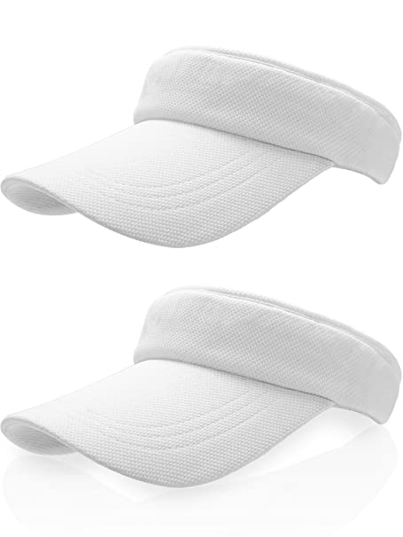 Amazon.com : Frienda Sun Visor Cap Tennis Hat Golf Baseball Cap with Adjustable Strap (White, Cotton) : Sports & Outdoors