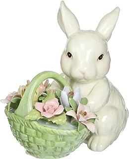 3-3//4-Inch Cosmos 10596 Multicolored Fine Porcelain Decorative Bunny Tea Light Holder