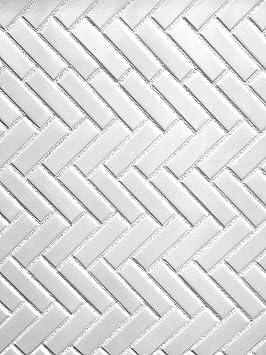 1x3 High Gloss Polished Finish White Herringbone Porcelain Mosaic Tile Walls and Floors