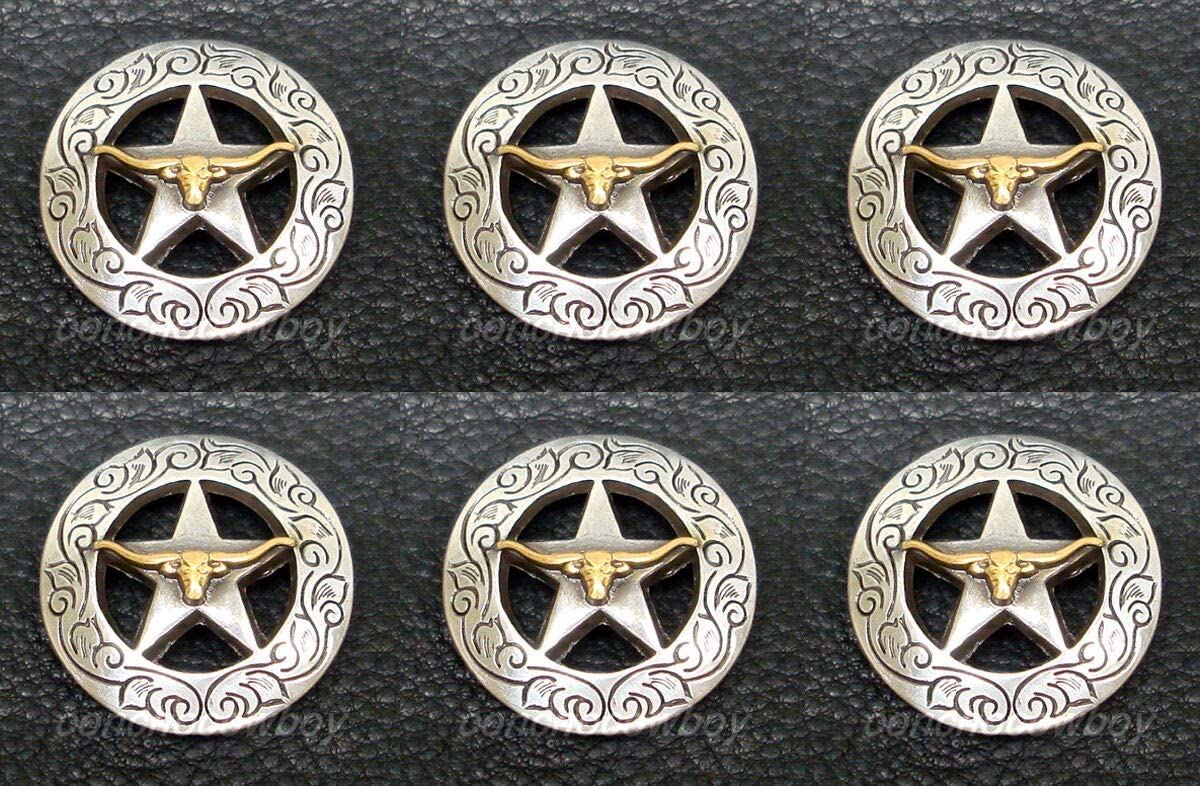 "WESTERN HORSE SADDLE HEADSTALL TACK ANTIQUE GOLD STAR CONCHO 1-1//8/"" screw back"