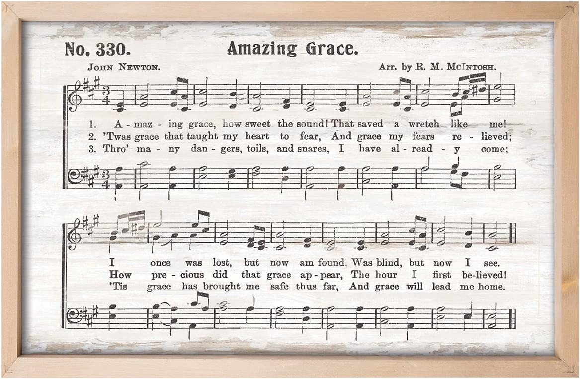 P. Graham Dunn Amazing Grace Rustic Sheet Music 24.5 x 16 Inch Pine Wood Framed Art Wall Plaque