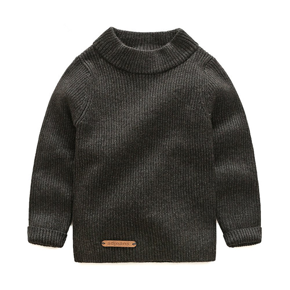 Mud Kingdom Solid Color Boys' Long Sleeve Pullover Sweaters Turtleneck SS0472